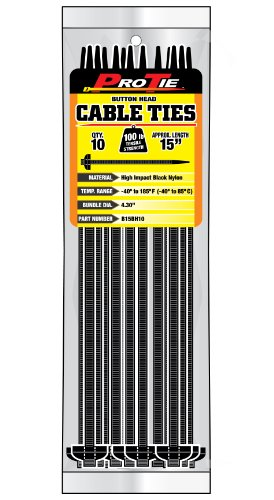 Pro Tie B15BH10 15-Inch Button Head Cable Ties, Black Nylon, 10-Pack ()