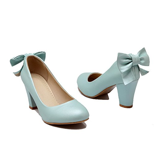 Odomolor Women's Kitten-Heels Pull-On PU Round-Toe Solid Court Shoes Blue NFUfcRCOvD