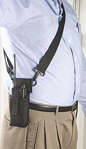 Adjustable Radio Holder with Shoulder Strap - BLACK ()