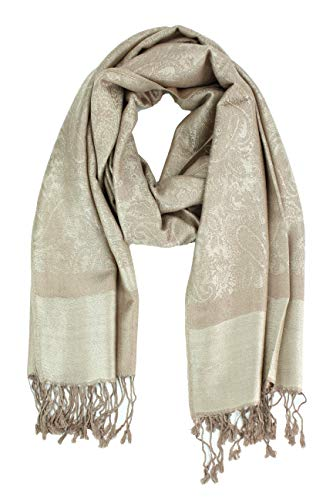 - Paskmlna Paisley Jacquard Pashmina Shawl Wrap Scarf Stole (Taupe-beige018129)