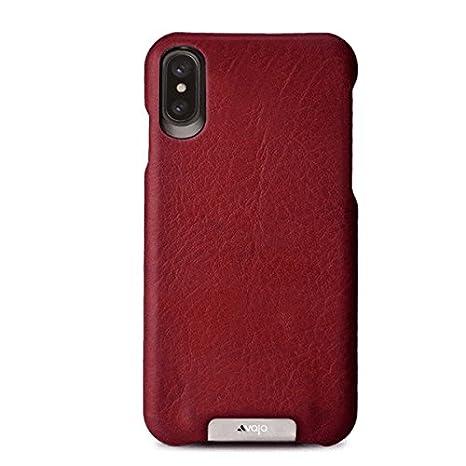 Vaja Grip Leather Case for iPhone X - Hard Polycarbonate Frame, Wireless Charging Compatible - Bridge Chili - Bridge London