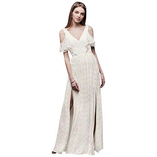 Eyelet Sheath - David's Bridal Chiffon Eyelet Sheath Wedding Dress with Ruffles Style DS870038, Ivory, 0
