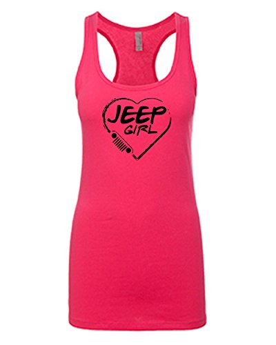 Jeep Girl  Jeep Lovers   Black Design   Womens Pink Tank