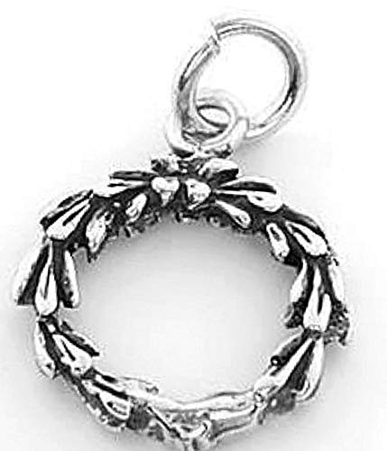 Sterling Silver Christmas Wreath Charm/Pendant Vintage Crafting Pendant Jewelry Making Supplies - DIY for Necklace Bracelet Accessories by CharmingSS