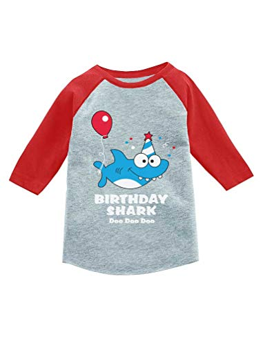 Birthday Shark Doo doo Song Funny Gift 3/4 Sleeve Baseball Jersey Toddler Shirt 3T Red