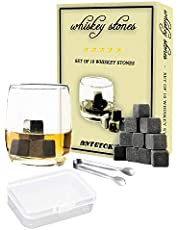 Whiskey Stones Chilling Stones Gift Set of 10 Cold Wine Whiskey Beverages in Gift Box with Tongs