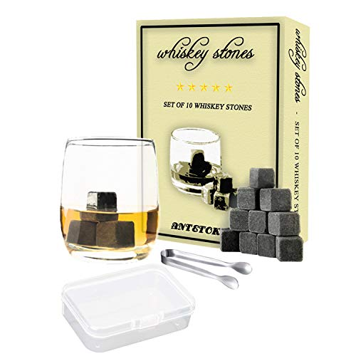 Whiskey Stones Gift Set Box of 10 Chilling Rock and Tongs,100% Pure Soapstone for Cold Wine Whiskey Beverages (Gray)