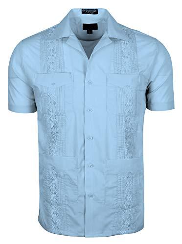 (TrueM Men's Short Sleeve Cuban Guayabera Shirts (2XL, Lt Blue))