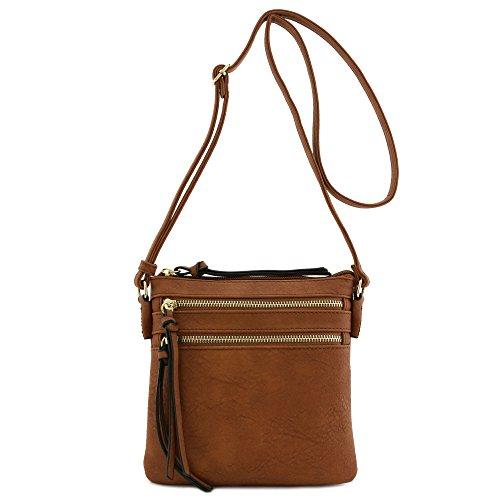 Functional Multi Zip Pocket Crossbody Bag (Brown Purses)