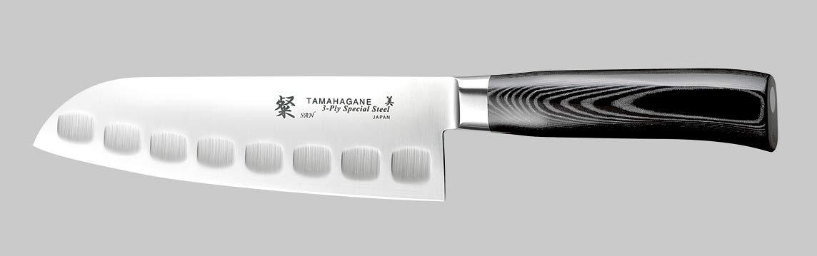 Tamahagane Tsubame Mikarta Cuchillo Santoku acanalado de ...