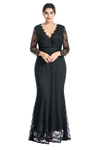 myfeel Women Plus Size Maxi length Sleeves Lace Dress Spring event Gowns (3X, Black)
