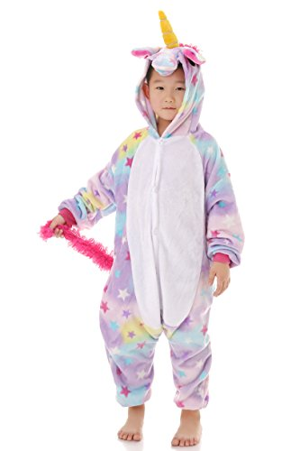 Yutown Kids Unicorn Costume Animal Onesie Pajamas Children Halloween Gift Star 110 -