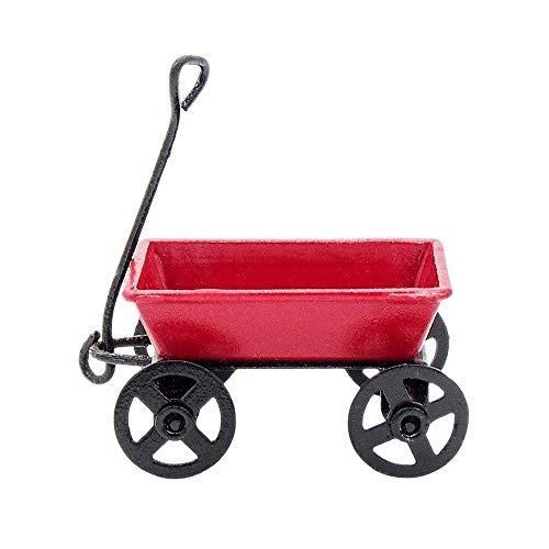 Odoria 1:12 Miniature Red Trailer Wagon Trail Car Dollhouse Fairy Garden Accessories