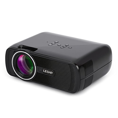 LESHP Mini Projector,1080P HD 3D Projector with 5.0 Inch LCD