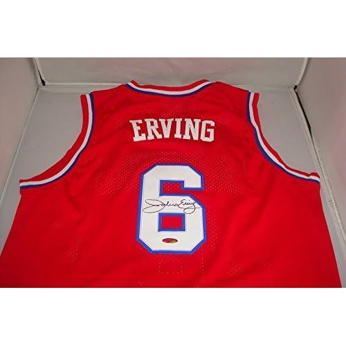 newest da832 1304d Dr J Julius Erving Signed Philadelphia 76ers red Jersey ...