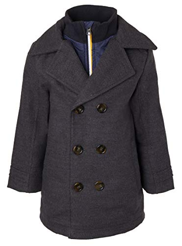 Sportoli Boys Classic Wool Look Lined Winter Vestee Dress Pea Coat Peacoat Jacket - Charcoal Vestee (Size 4T)