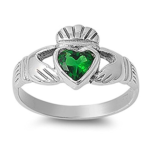 Emerald Bezel Ring (Irish Dublin Heart Promise Claddagh Ring Green Simulated Emerald 925 Sterling)