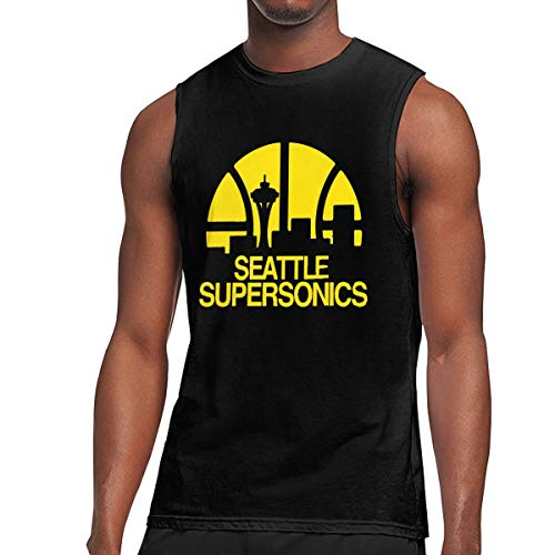 KABASHIJI Seattle Supersonics Men's Tank-Top Sleeveless T Shirt 100% Cotton Bodybuilding Tshirt Black L