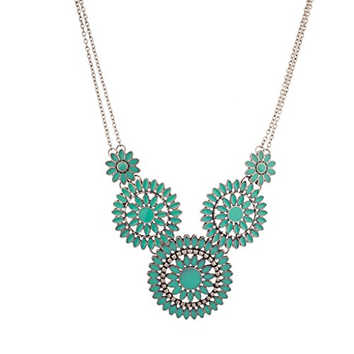 Lux Accessories Synthetic Turquoise Burnished Boho Floral Flower Statement Necklace (Marble Pop Necklace)