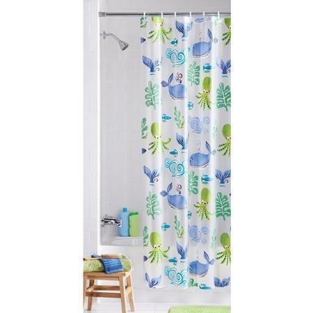 Mainstay Neptune Ocean Themed Children's Bathroom PEVA Vinyl Shower Curtain