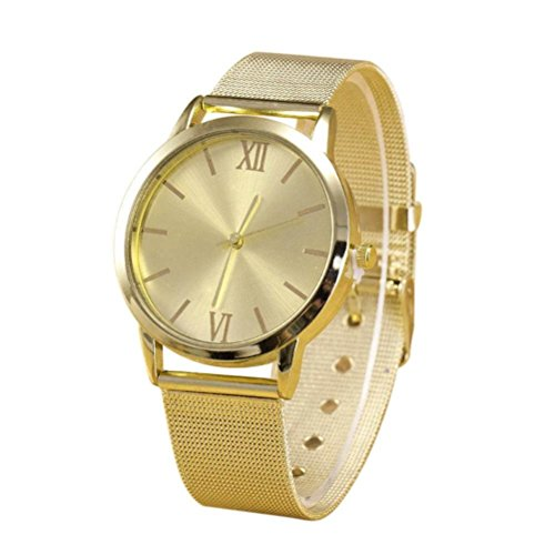 Canserin Women Ladies Gold Stainless Steel Mesh Band Wrist W