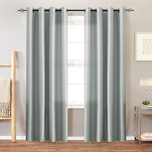 Curtains Grey 84 inches Faux Silk Living Room Bedroom Window Treatment Set Grommet Curtain Panels One Pair
