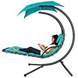 Best Choice Products Outdoor Porch Hanging Curved Chaise Lounge Chair Swing Hammock w/Pillow, Stand, Canopy - Teal
