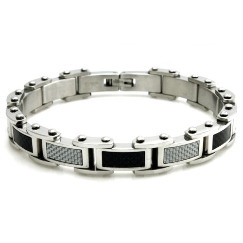 Stainless Steel Biker Link Bracelet w/ Muli-Colored Carbon Fiber Inlays, 8.5 ()