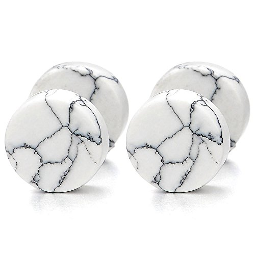 2pcs 10MM White Marble Stud Earrings Men Women, Steel Cheater Fake Ear Plugs Gauges Illusion Tunnel -
