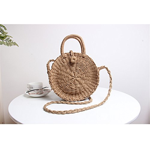 BoBoSaLa Handmade Rattan Woven Round Handbag Vintage Retro Straw Rope Knitted Messenger Bag Lady Fresh Paper Bag Summer Beach Tote