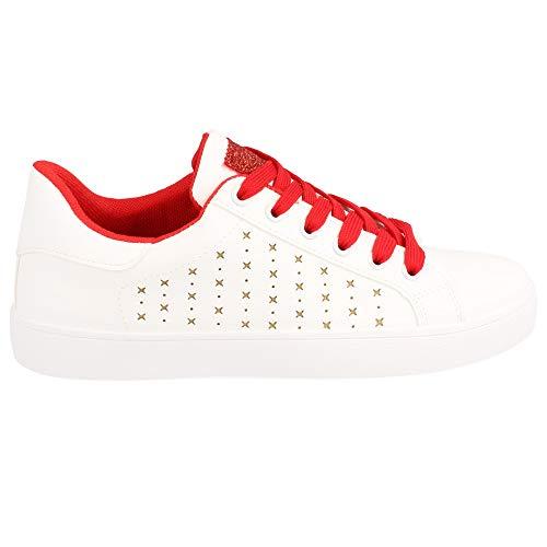 Con Lacci Sneaker Chiusura Bassa Punta · Rojo Arrotondata FgqRxC