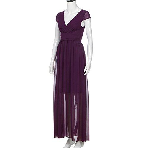 V de Elegantes Playa Camiseta Largo Playa Casual ❤️ Mujeres sin Vestido Gasa Elegante Vestido Mangas Púrpura Longra Cuello 6wdH0q6S