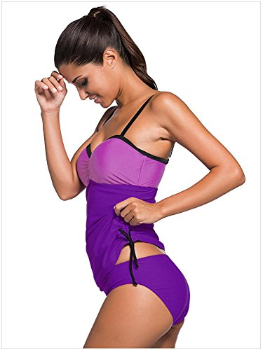 QIFEI Purple Blue Colorblock 2pcs Tankini traje de baño gray