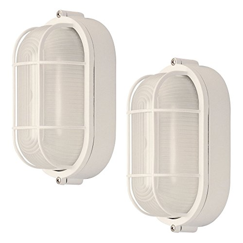 2 Pack Weatherproof Bulkhead Oval Flushmount Exterior Light for Wet Locations, (Large White Oval Exterior Light)