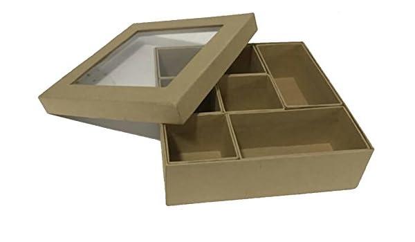 Caja de cartón con compartimentos interiores FSC 28,5 x 22,5 x 5 cm: Amazon.es: Salud y cuidado personal