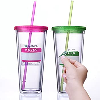 Cupture Classic Insulated Double Wall Tumbler Cup with Lid, Reusable Straw & Hello Name Tags - 24 oz, 2 Pack (green/pink)