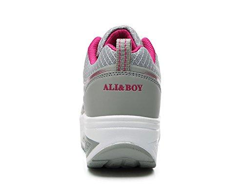 No.66 Town Womens Waiking Hardloopschoenen Comfortabel Platform Jogging Sneakers Us5.5-8.5 Grijs