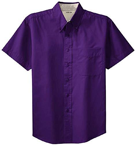 (Joe's USA - Men's Short Sleeve Wrinkle Resistant Easy Care Shirts-3XL Purple/Light Stone)