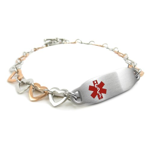 My Identity Doctor Pre-Engraved & Customizable Hypoglycemia Toggle Medical ID Bracelet, Steel Hearts, Red (Medical Toggle Heart Bracelet Id)