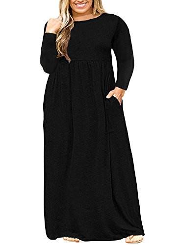 Shirt Plus T Dress Women's Black Maxi with Plain Size Pockets Ashuai Autumn Long Sleeve qFzBx6Un