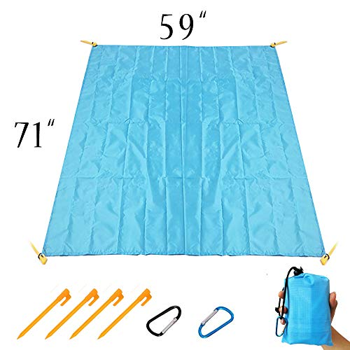Livin' Legend Beach Blanket-Sand Free Blue Beach Mat-Quick Dry and Compact Camping Blanket for Outdoor Activities