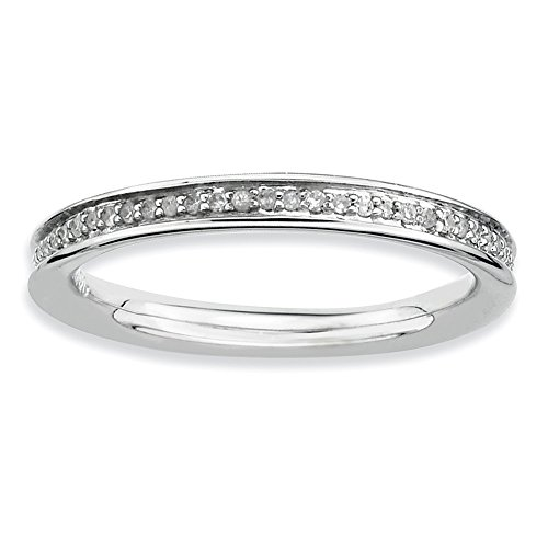Size 8 - Solid 925 Sterling Silver Stackable Expressions & Diamonds Polished Ring (2.3mm) (1/5ct.) by Sonia Jewels