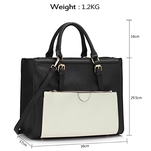 Leather Travel Xardi College White Black Work Style Handbags Large London Women Ladies Shoulder Bags New w8q8tHSF