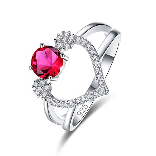 Narica Women's 925 Sterling Silver Filled Round Cut Ruby Spinel Promise Proposal Engagement Wedding Rings Size 8 ()