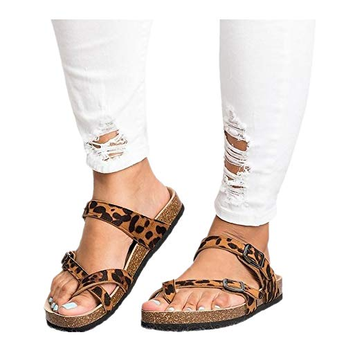 Women's Leopard Print Flats Open Toe Ankle Strap Buckle Sandals Thick-Soled Cork Slippers (Khaki, US:6.0)