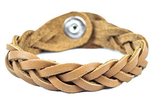 Genuine Leather Essential Oil Diffuser Bracelet (Large/Adult, Tan) ()