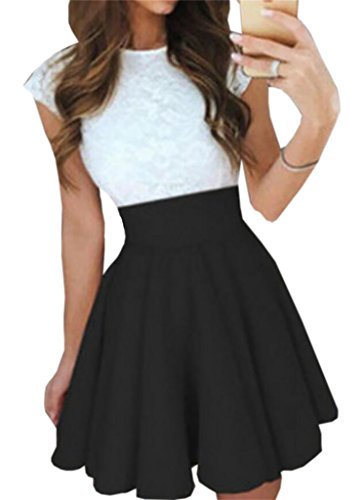 Swing Block Color Womens Dress Stitching Skater Domple Black Lace Stylish Mini qP0Wn77t
