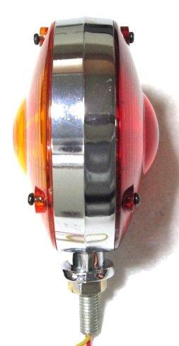 Warning Hazard Indicator Lamp Light Red Amber 12V Chrome Frame Tractor Truck trailer - 11002902
