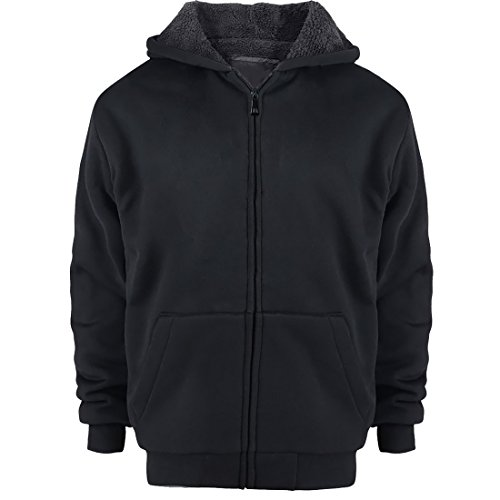 Sherpa Lined Boys Hoodie Full Zip Fleece Warm Youth Big Long Sleeve Child Sweatshirts Black