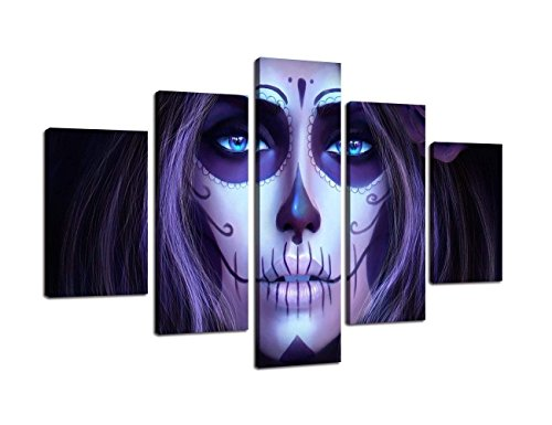 Oufeiyan Halloween Wall Art Day The Dead Face Large Canvas All Saints Day Animated Painting 5 PCS Modern Posters Prints Pictures Living Room,Home Decor Framed Stretched Ready to Hang(60''Wx40''H) -